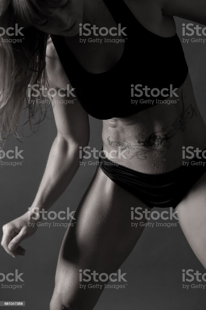 Black And White Picture Of A Fitness Women Royalty Free Stock Photo