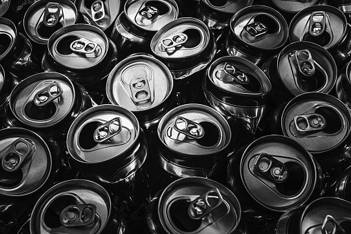 istock Black and white picture of aluminum can 1023547914