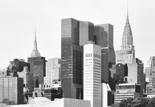 Black and white picture of New York City diverse architecture, USA. stock photo