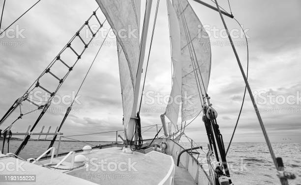 Photo of Black and white picture of old schooner at sea