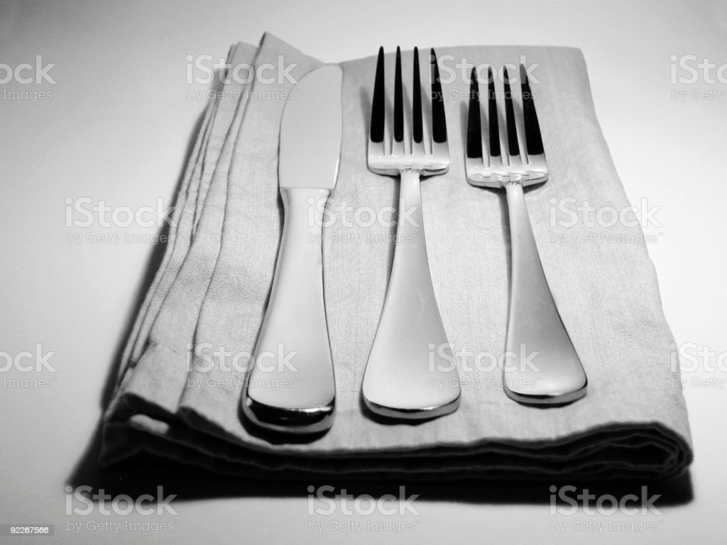 black and white place setting royalty-free stock photo
