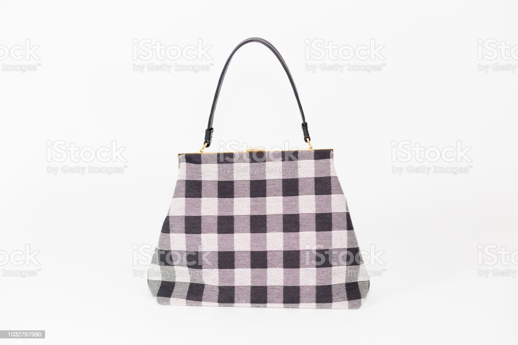 31dac446f29a Black And White Plaid Checkered Pattern Handbag Closeup Stock Photo ...