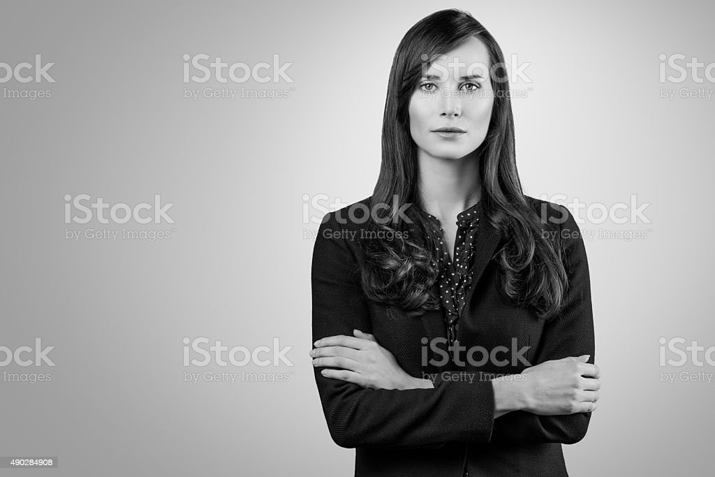 Black and white portrait of a beautiful woman stock photo