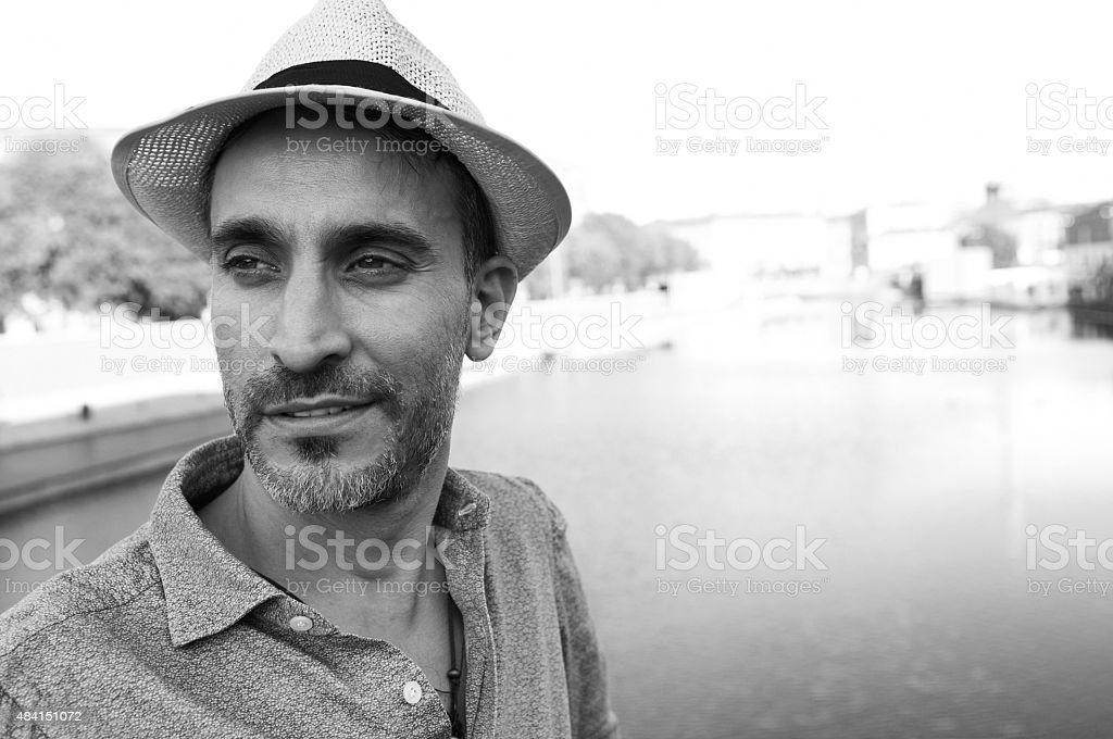 Black and white portrait of a middle-age man stock photo