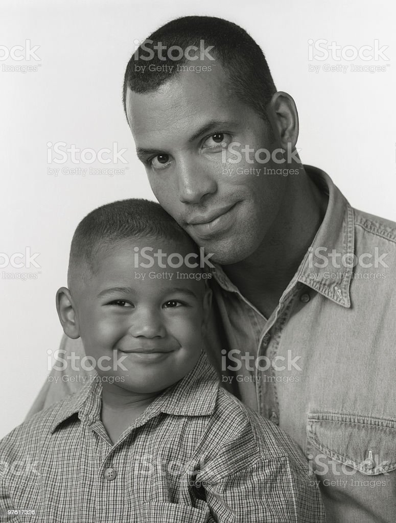 Black and White Portrait of African American Father Son royalty-free stock photo