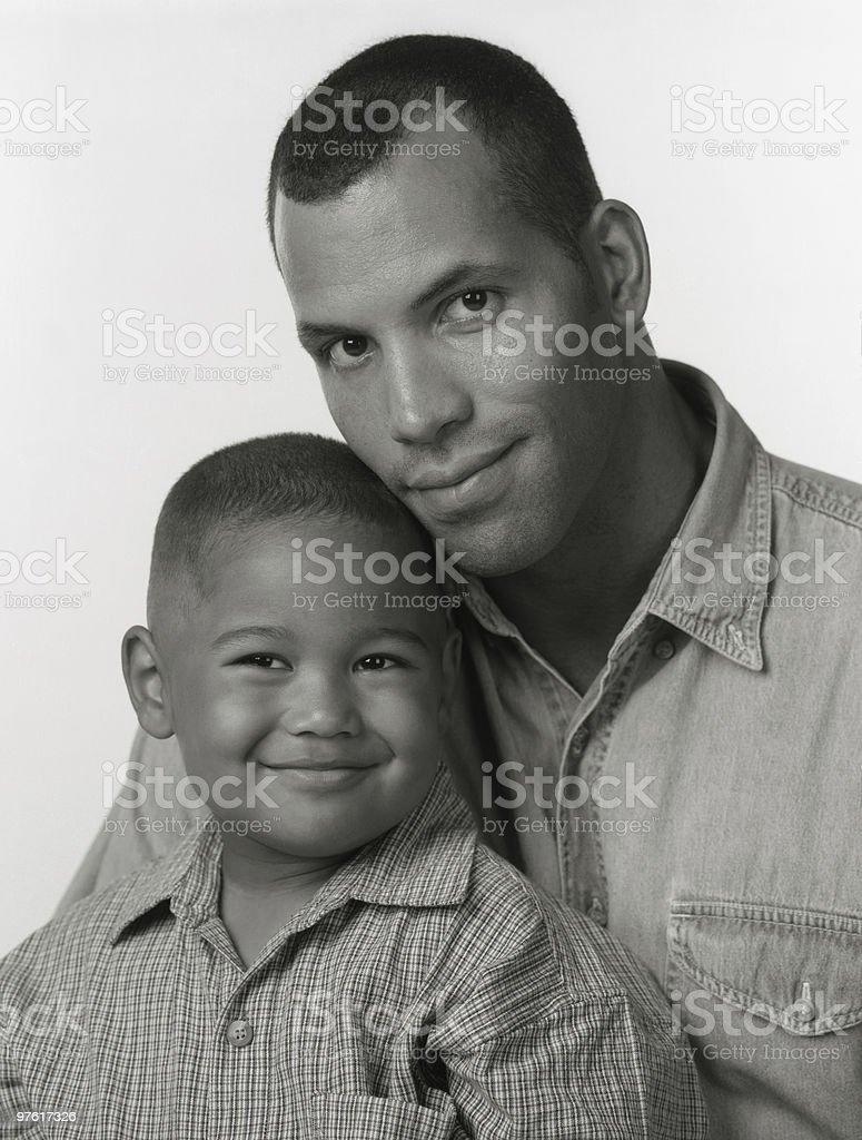 Black and White Portrait of African American Father Son royaltyfri bildbanksbilder
