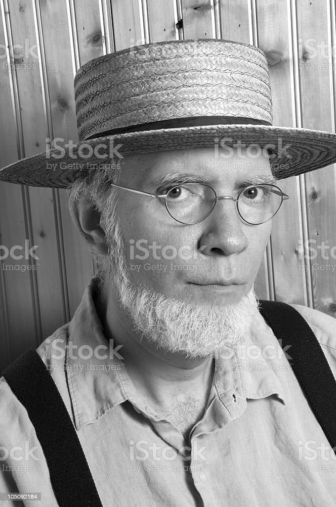 Black and White Portrait of an Amish Man stock photo
