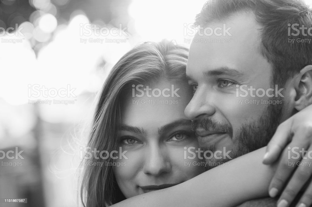 Black and white portrait of couple in love