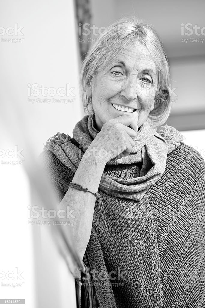 Black and white portrait of elderly woman. stock photo