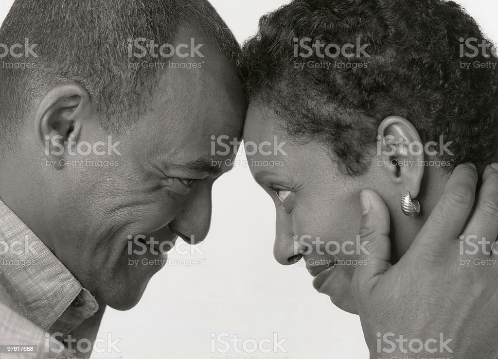 Black and White Portrait of Husband with Wife African American royalty-free stock photo