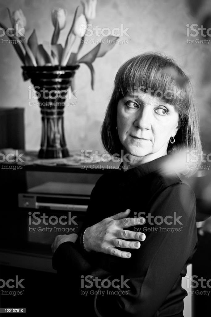 Black and white portrait of pensive woman  Adult Stock Photo