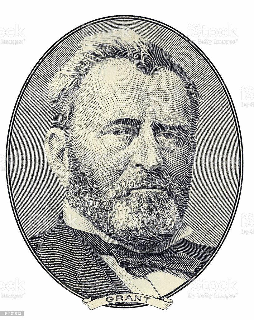 A black and white portrait of president Ulysses S Grant stock photo
