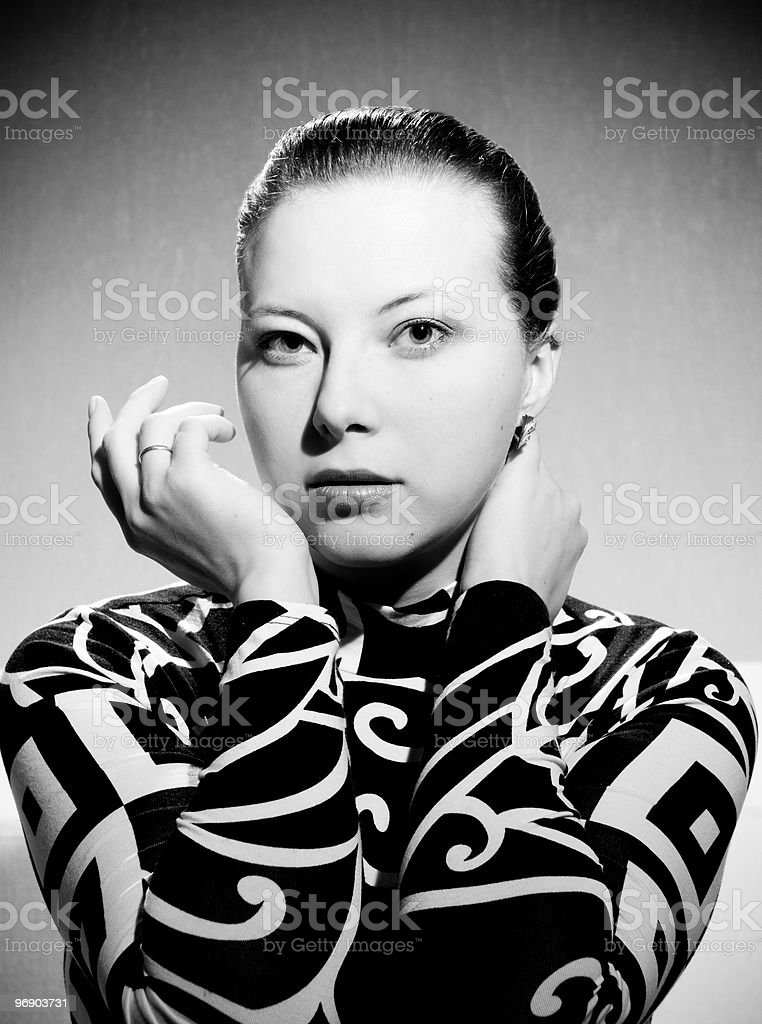 Black and white portrait of young woman royalty-free stock photo