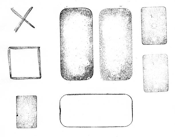 Black and white printed letterpress shapes Printed letterpress shapes, very high resolution scan. rubber stamp stock pictures, royalty-free photos & images