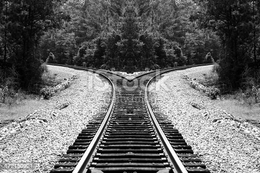 Mirror effect applied to railroad tracks in a remote town in Florida.