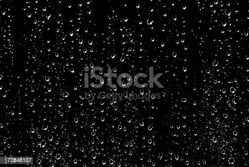 Drops of rain on glass in black and white.... background.