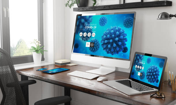 Schwarz-Weiß-Responsive-Geräte Mockup responsive Coronavirus Info-Website – Foto