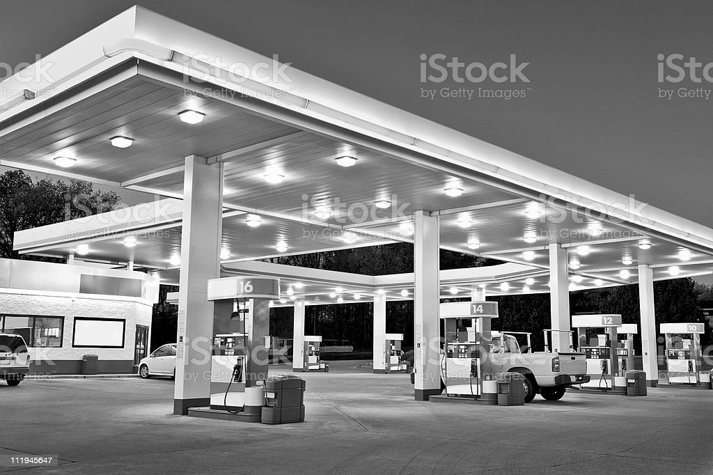 Black and White Retail Gasoline Station With Convenience Store royalty-free stock photo