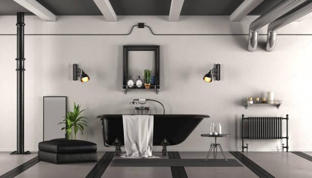 schwarz / weiß retro-bad - badezimmer rustikal stock-fotos und bilder