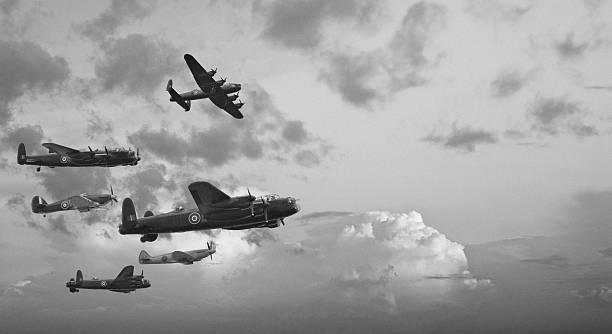 Black and white retro image Battle of Britain WW2 airplanes stock photo