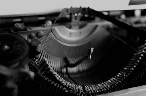 Black And White Retro Typewriter Letter Stock Photo - Download Image Now