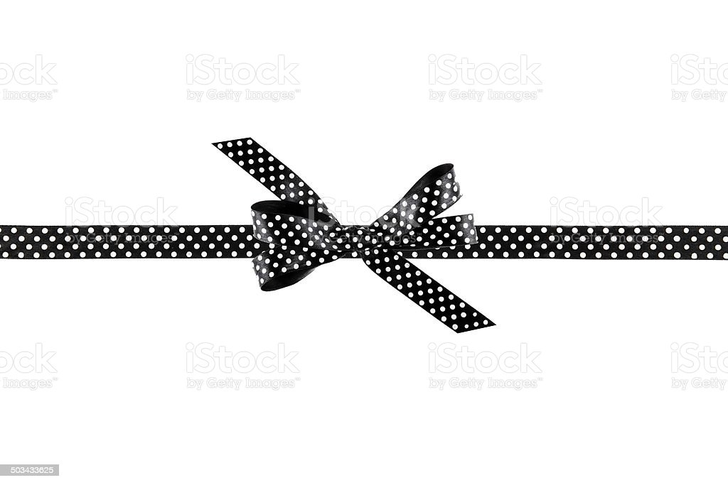 Black and white ribbon with a bow on  white background stock photo