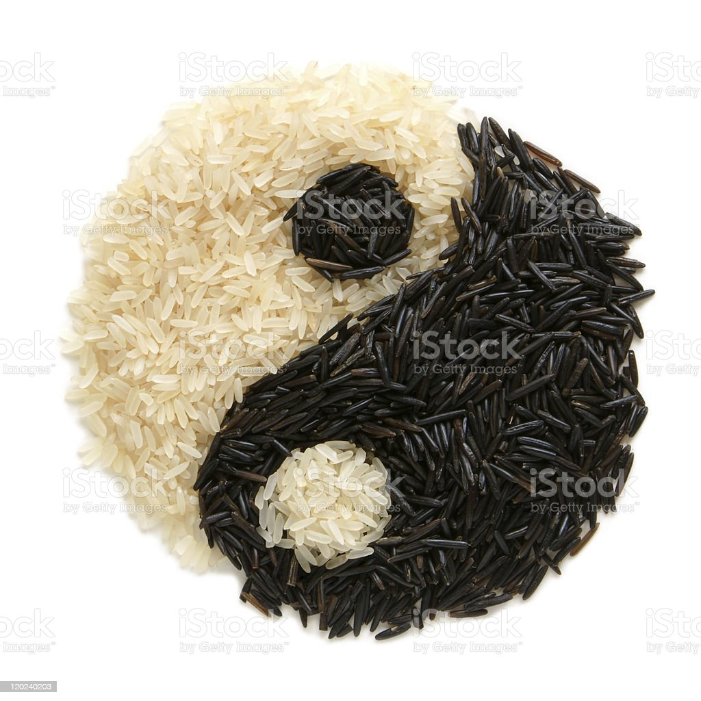 Black and white rice in shape of karma symbol royalty-free stock photo