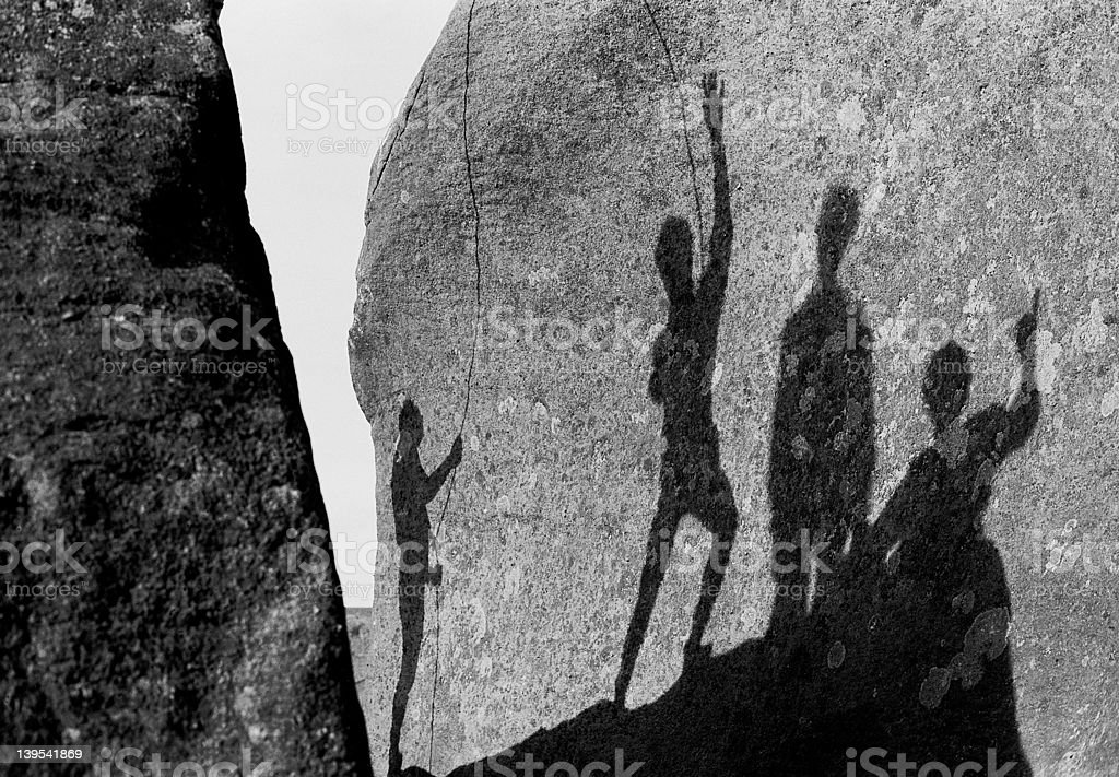 Black and White rock climbing shadows royalty-free stock photo