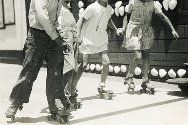 Black and White Roller Skaters. stock photo