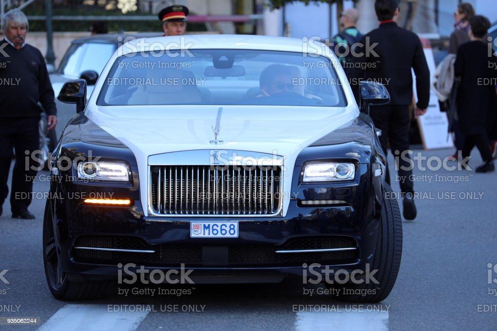 Black And White Rolls-Royce in Monaco stock photo