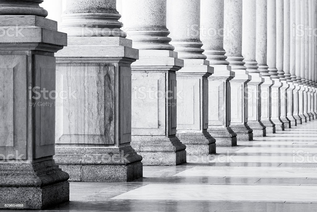 Black and white row of classical Columns with copy space, stock photo
