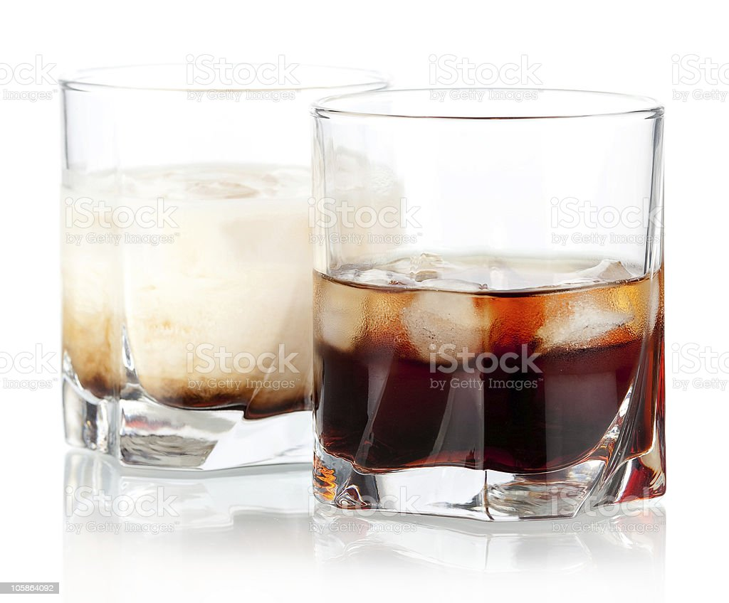 Black and white russian cocktails stock photo