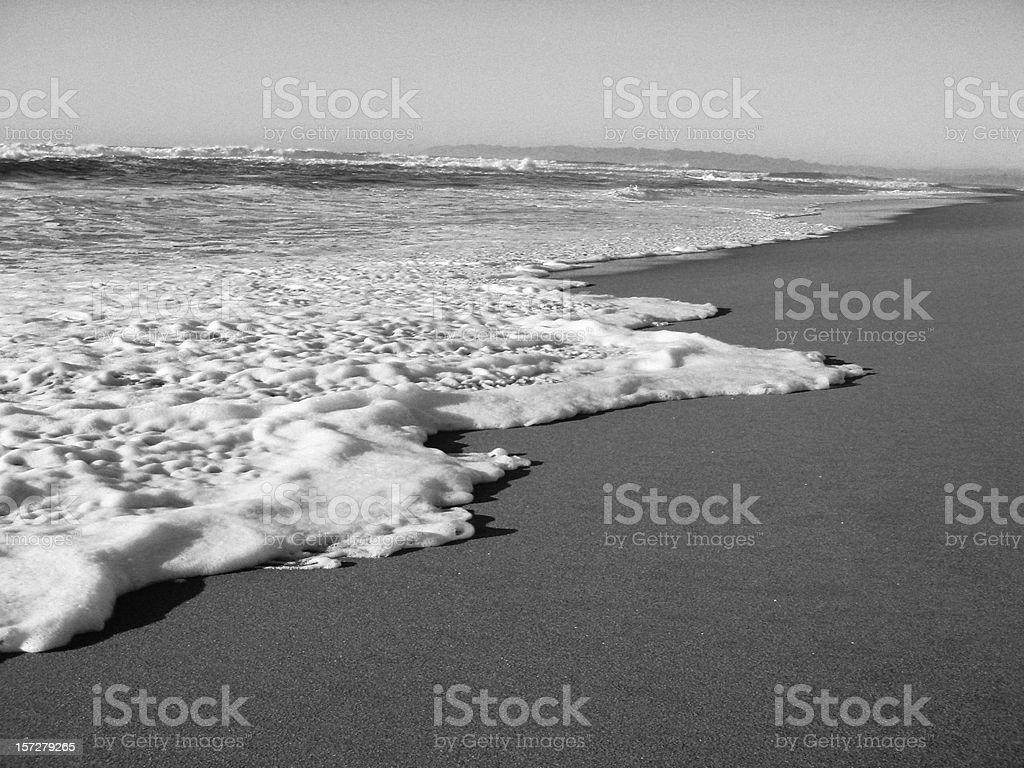 Black and White Sea Shore royalty-free stock photo