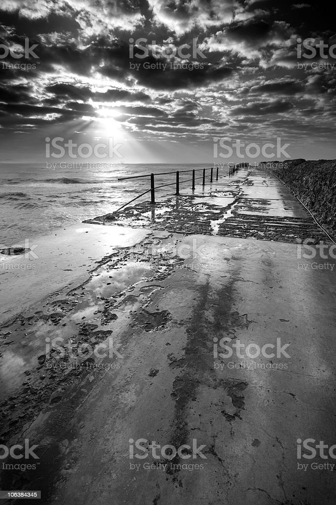 Black and white seascape royalty-free stock photo