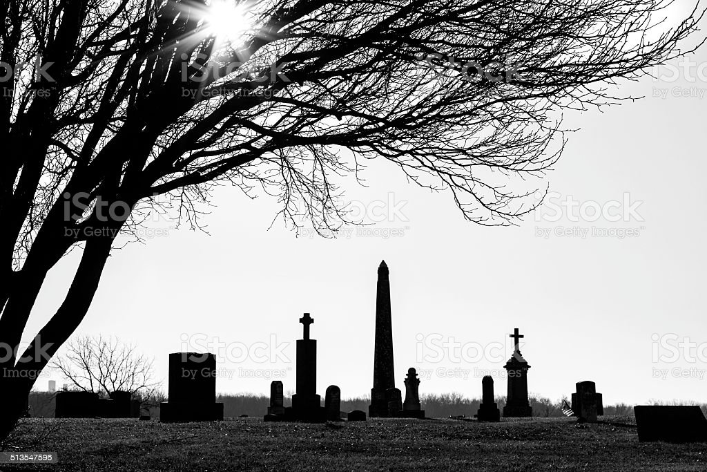 Black and White Shillouette of Country Cemetary stock photo