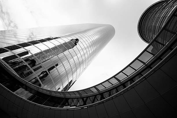 Black and white shot of Houston Skyscraper and Skywalk stock photo