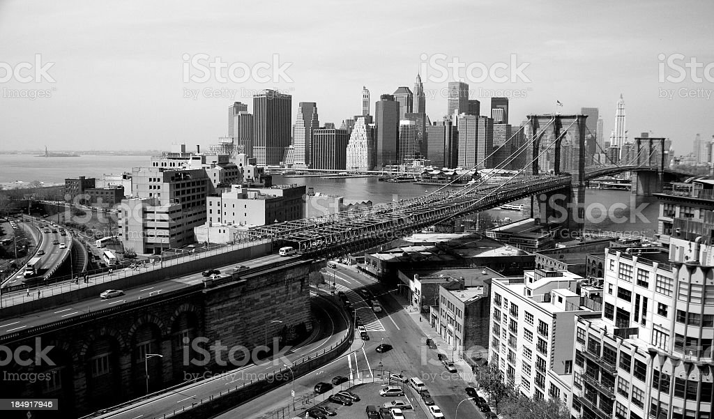 Black and white shot of New York city skyline royalty-free stock photo