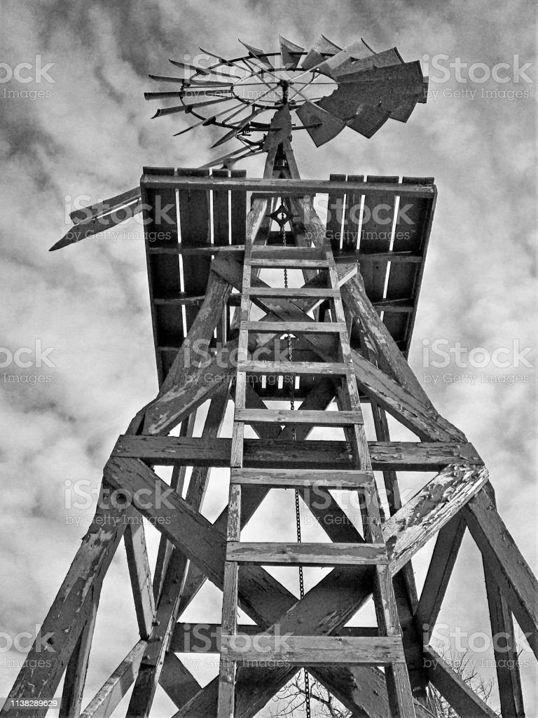 Black and White Shot of Windmill stock photo