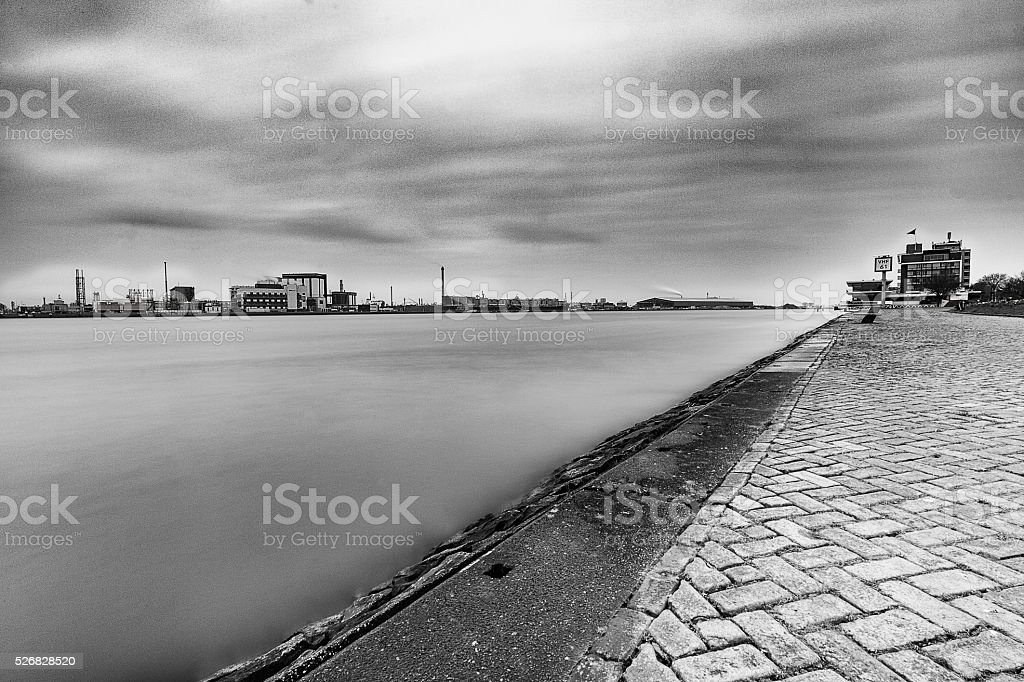 Black and white silent river stock photo