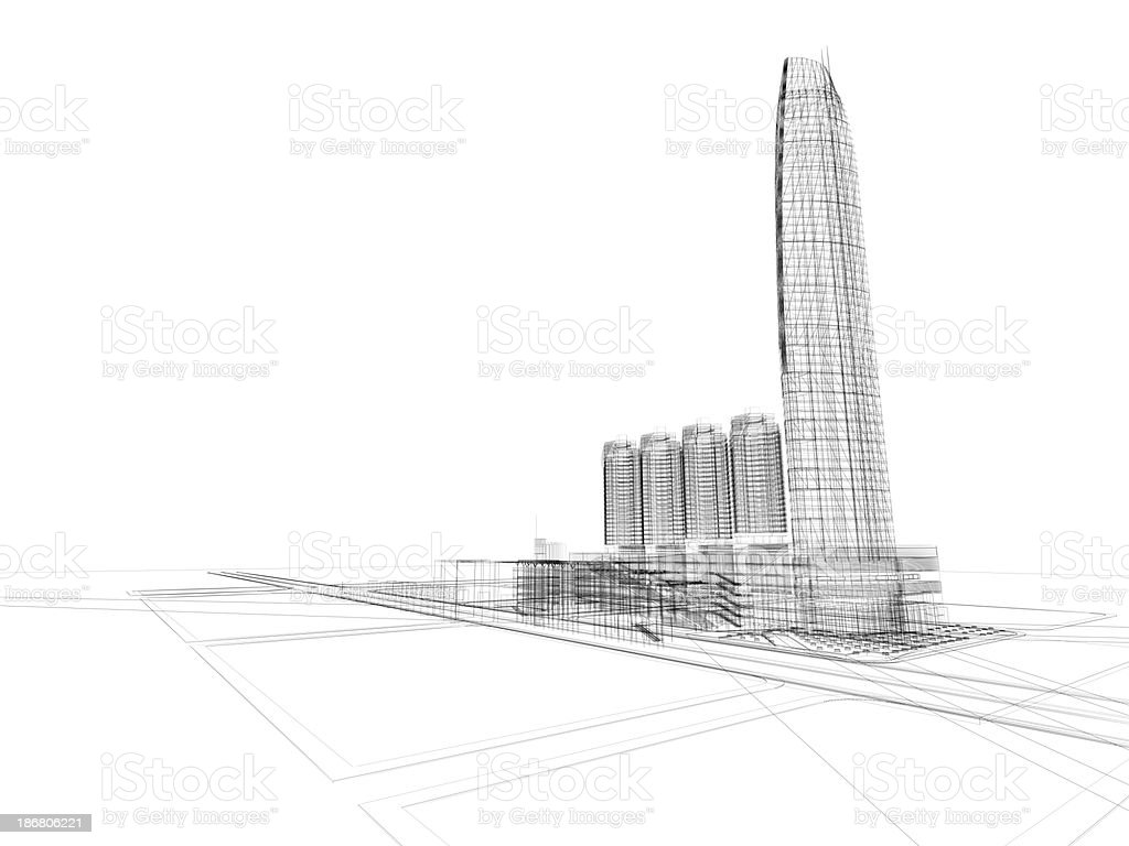 A black and white sketch of buildings royalty-free stock photo
