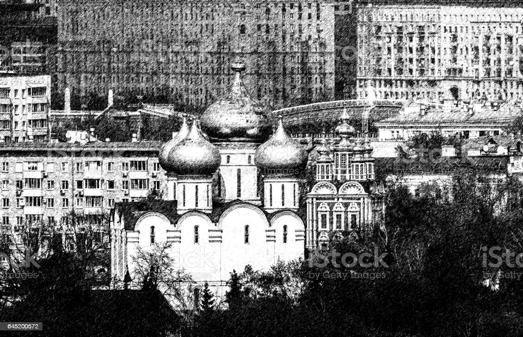 Black And White Sketch Of Orthodox Church With Golden Cupola Inside ...