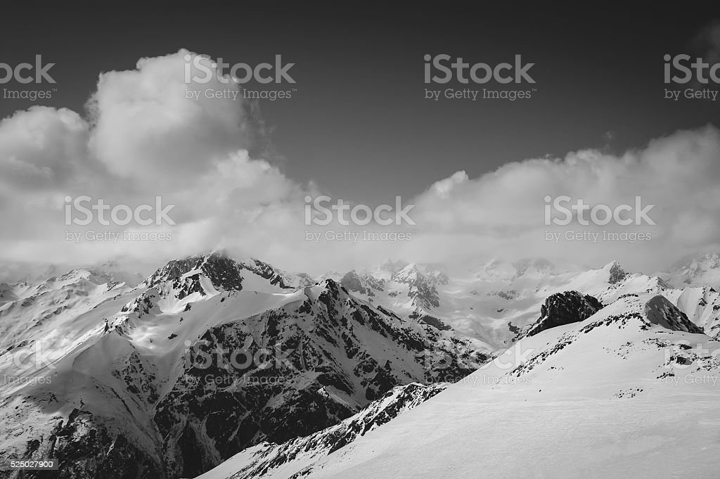 Black and white ski slope stock photo