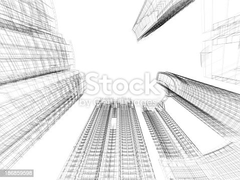 istock A black and white skyscraper blueprint in wire frame 186859598