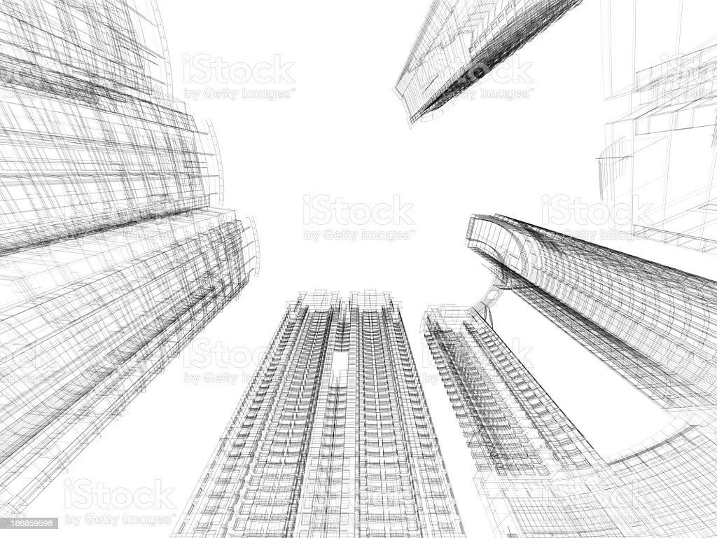 A black and white skyscraper blueprint in wire frame stock photo