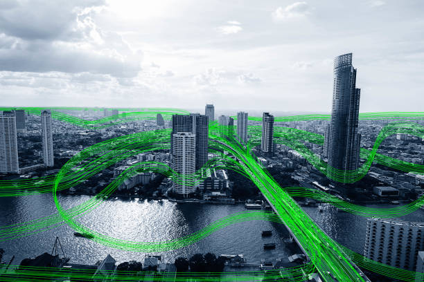 black and white smart city with data communication flow network, communication technology concept - smart city imagens e fotografias de stock