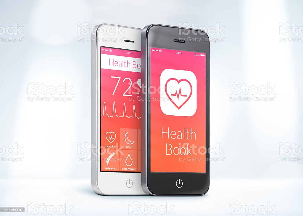 Black and white smartphones with health care book app stock photo