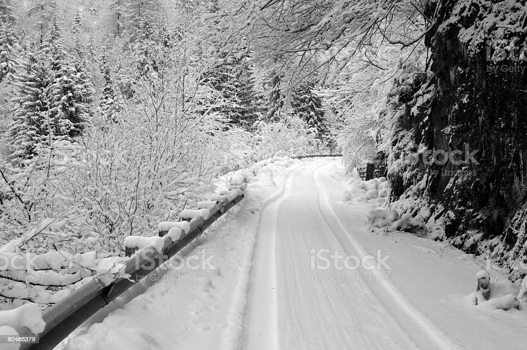 black and white snow covered road with car tracks royalty-free stock photo