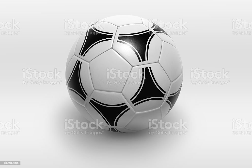 Black and white soccer ball against a white background royalty-free stock photo
