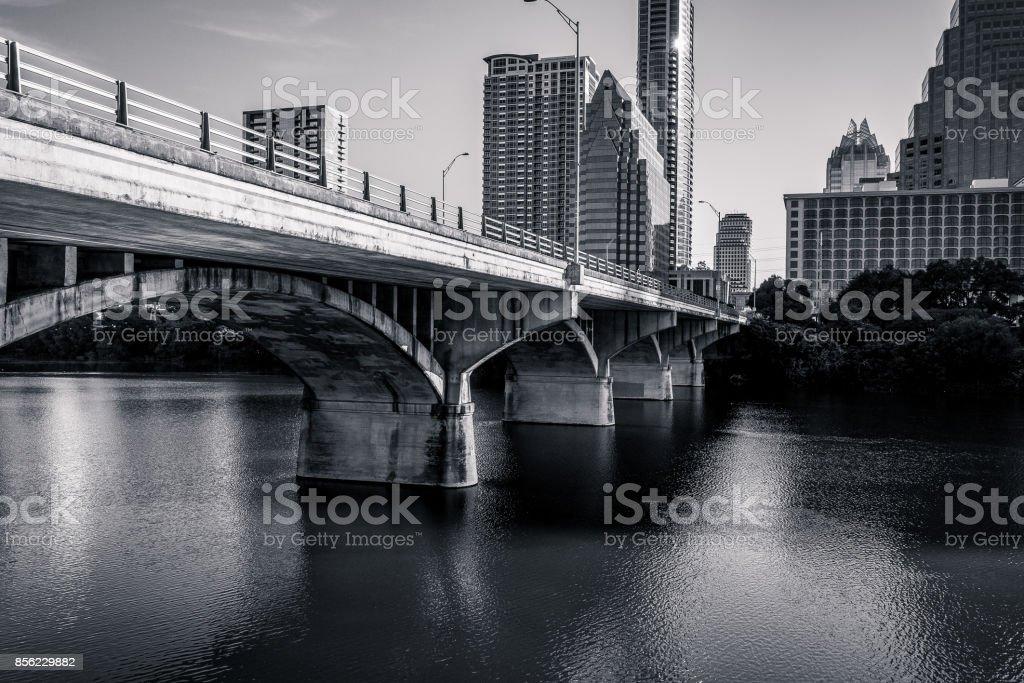 black and white South Congress Bridge and Lady Bird Lake View Austin Texas stock photo