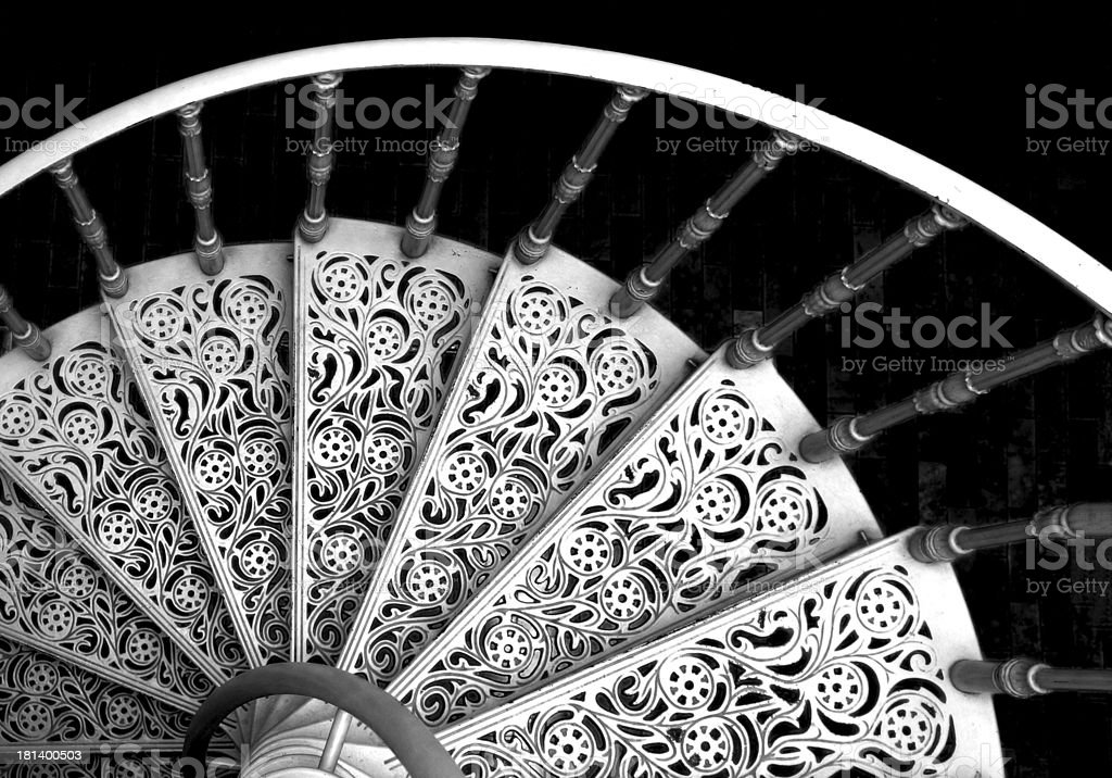 Black and white spiral stairs royalty-free stock photo